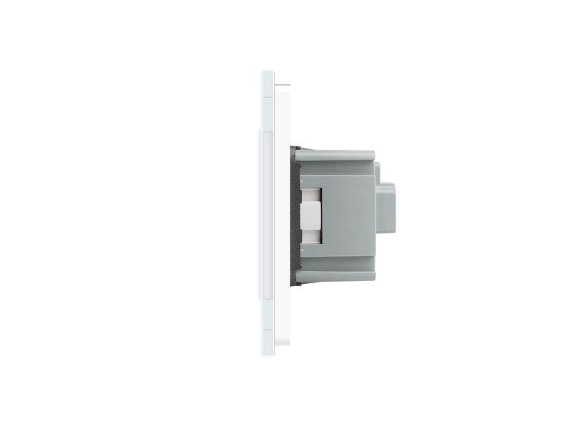 Design Touch Schakelaar | Enkelpolig + 2 x EU Wandcontactdoos | 3 Raams