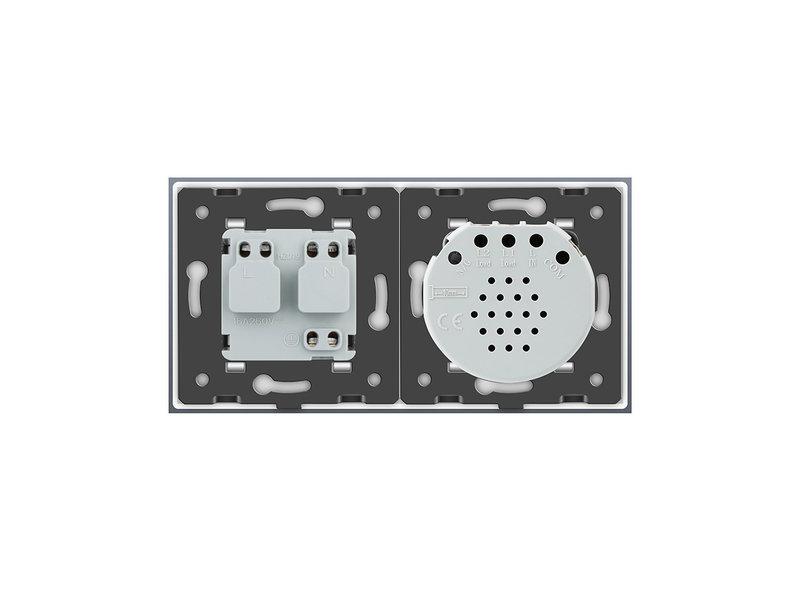Design Touch Dimmer   1-Polig + EU Steckdose   2 Fach