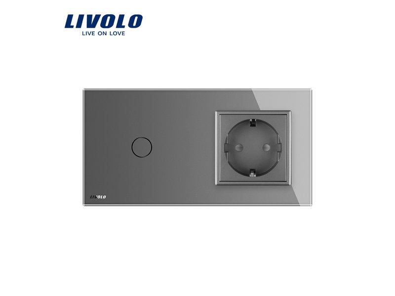 Livolo Design Touch Dimmer | 1-Polig + EU Steckdose | 2 Fach
