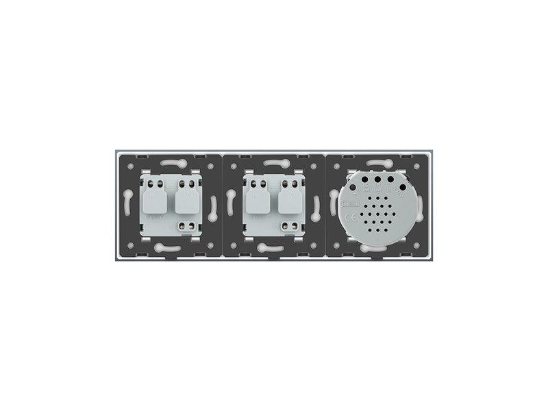 Design Touch Dimmer | Enkelpolig + 2 x EU Wandcontactdoos | 3 Raams