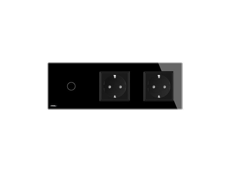 Design Touch Dimmer   Enkelpolig + 2 x EU Wandcontactdoos   3 Raams