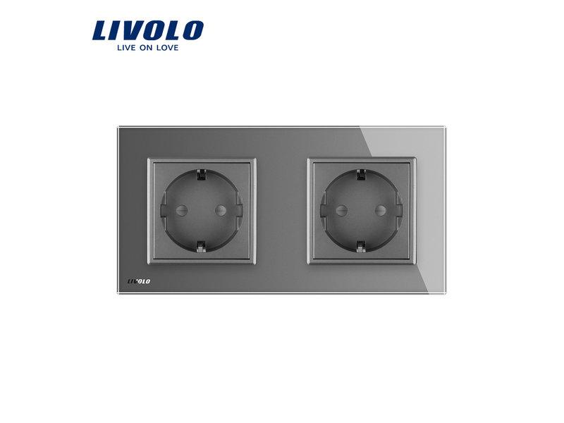 Livolo Design Wandcontactdoos | Tweevoudig | 2 Raams | EU