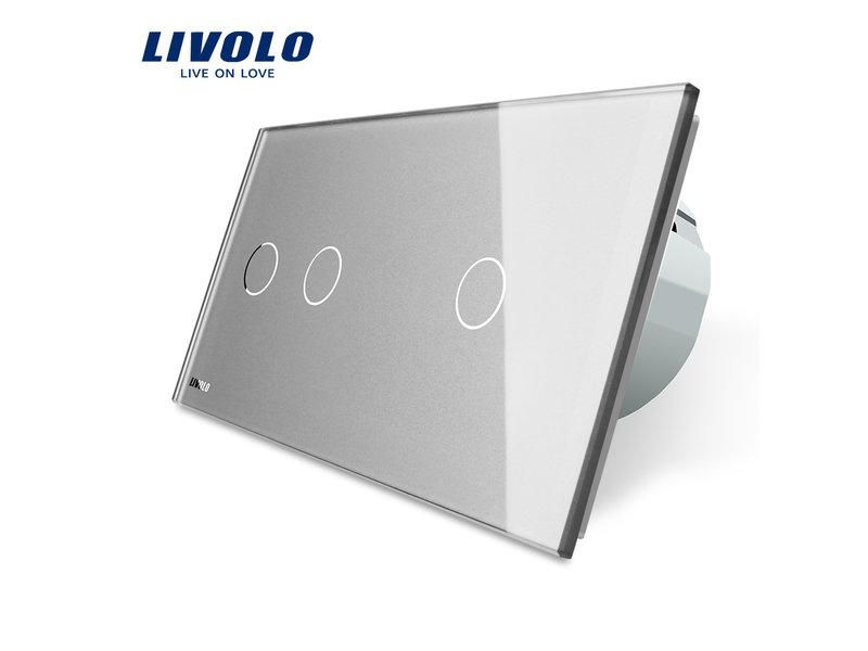 Livolo Design Touch Schakelaar | Serie (2-polig) +  Enkelpolig (1-polig) | 2 Raams