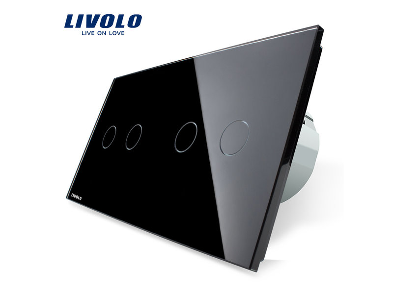 Livolo Design Touch Switch | 2 x 2 Gang 1 Way | 2 Hole