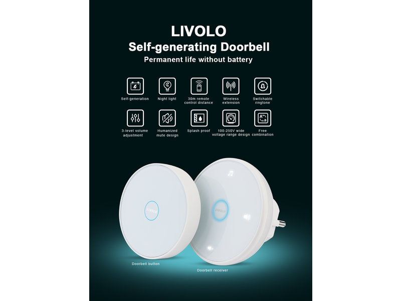 Livolo Design Doorbell | Wireless Transmitter and Receiver Set