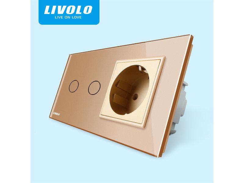 Livolo Design Touch Schakelaar | Serie + EU Wandcontactdoos | 2 Raams
