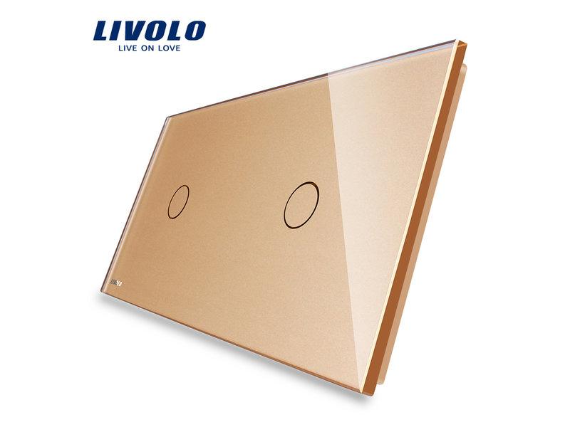 Livolo Design Glasplatte | 1-Polig + 1-Polig | 2 Fach