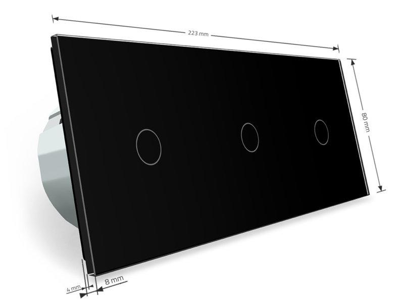 Livolo Design Touch Schakelaar | 3 x Enkelpolig | 3 Raams