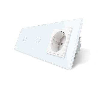 Livolo Touch Schakelaar | 2 x Enkelpolig + EU Wandcontactdoos