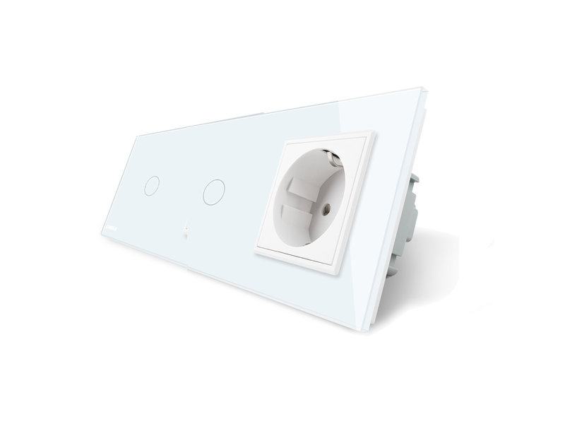 Livolo Design Touch Switch | 2 x 1-Gang + EU Socket | 3 Hole