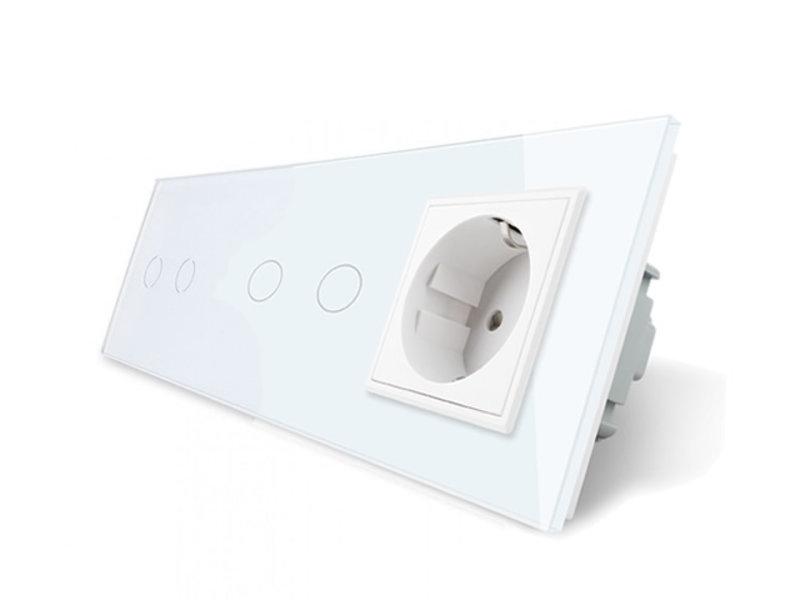 Livolo Design Touch Schakelaar | 2 x Serie + EU Wandcontactdoos | 3 Raams