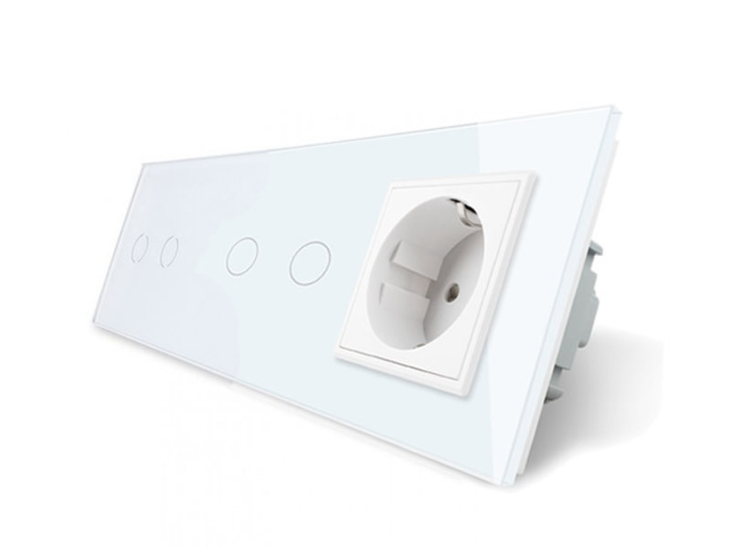Livolo Design Touch Switch | 2 x 2-Gang + EU Socket | 3 Hole