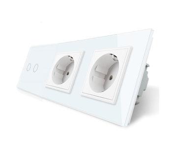 Livolo Touch Switch   2-Gang + 2 x EU Socket