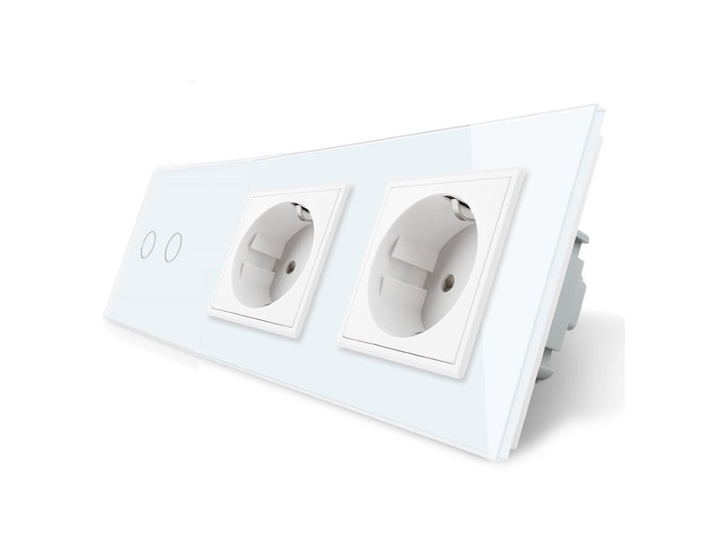 Livolo Design Touch Switch | 2-Gang + 2 x EU Socket | 3 Hole