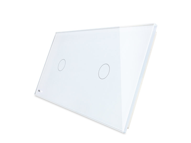 Livolo Design Glass Panel | 1-Gang + 1-Gang | 2 Hole