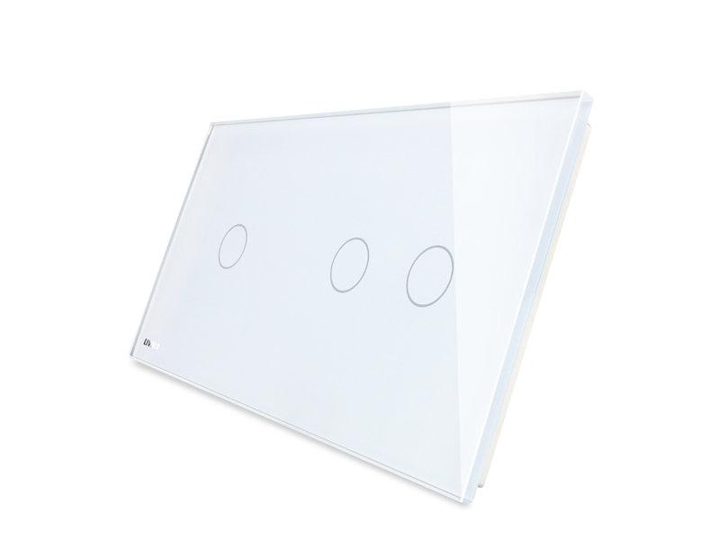 Livolo Design Glasplatte | 1-Polig + 2-Polig | 2 Fach