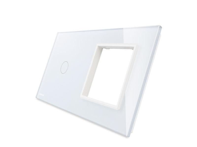 Livolo Design Glasplatte | 1-Polig + Modul/Steckdose | 2 Fach