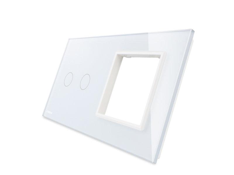 Livolo Design Glass Panel | 2-Gang + Module/Socket | 2 Hole