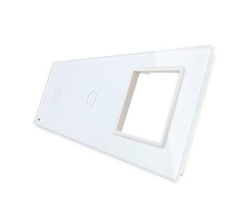 Livolo Glaspaneel | 2 x Enkelpolig + Module/Wandcontactdoos