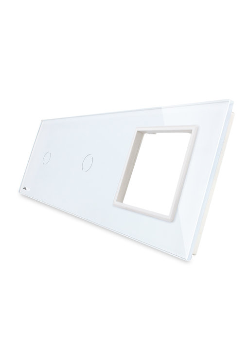 Livolo Glasplatte | 2 x 1-Polig + Modul/Steckdose