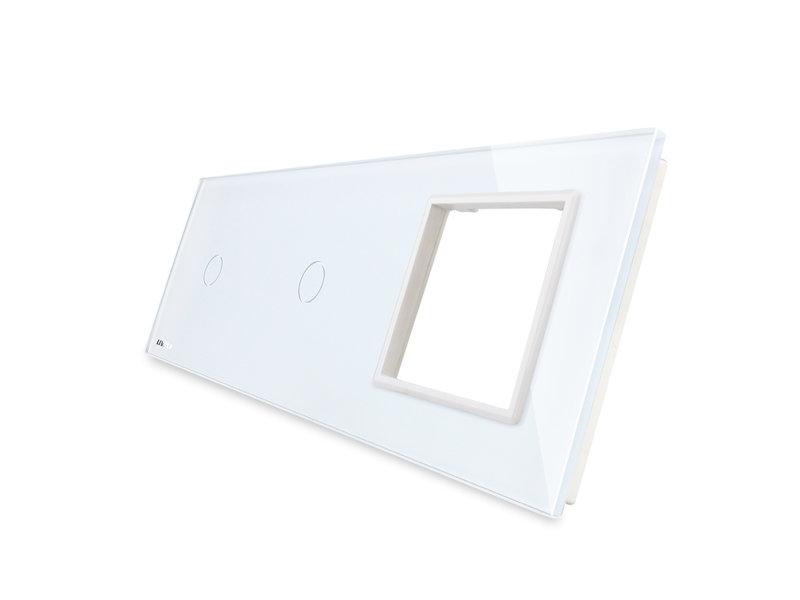 Livolo Design Glasplatte | 2 x 1-Polig + Modul/Steckdose | 3 Fach