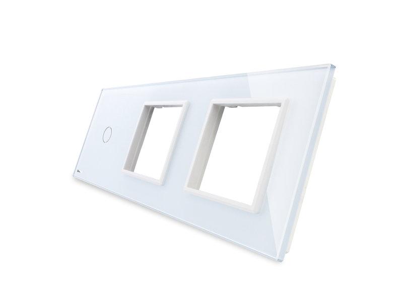 Livolo Design Glaspaneel | Enkelpolig + 2 x Module/Wandcontactdoos | 3 Raams