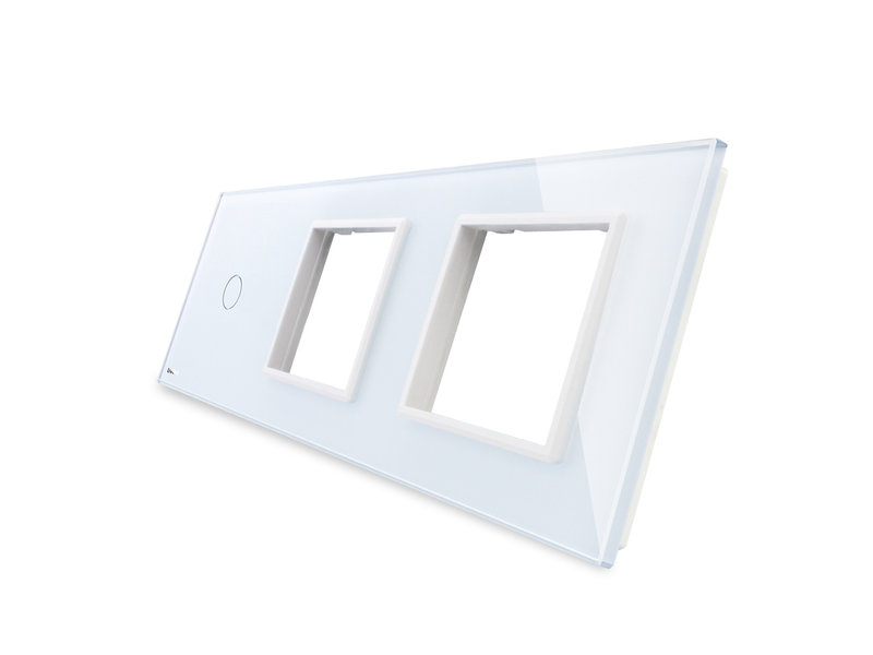 Livolo Design Glasplatte | 1-Polig + 2 x Modul/Steckdose | 3 Fach