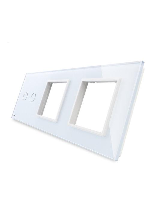 Livolo Glasplatte | 2-Polig + 2 x Modul/Steckdose