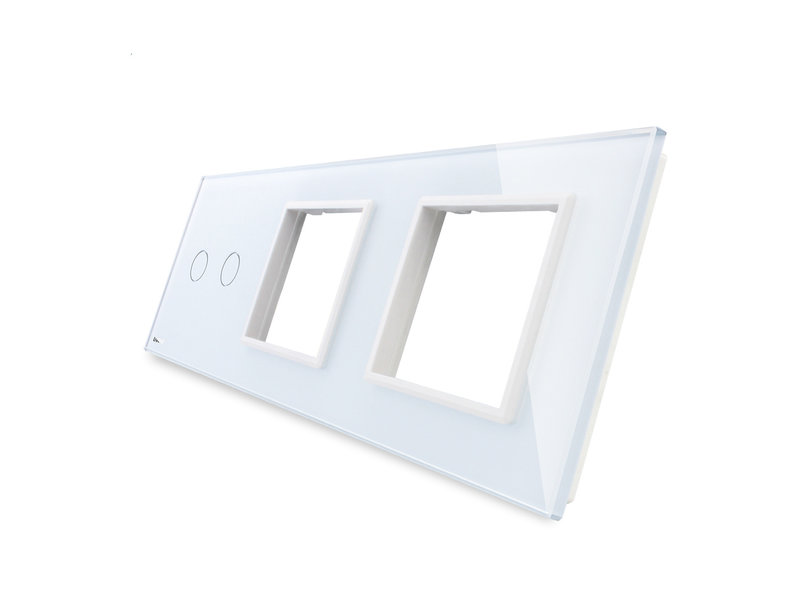 Livolo Design Glasplatte | 2-Polig + 2 x Modul/Steckdose | 3 Fach