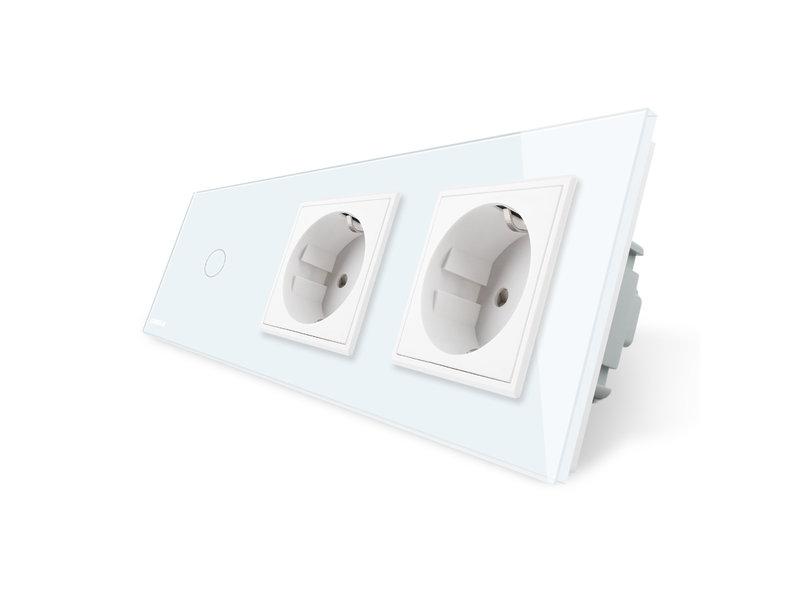 Livolo Design Touch Dimmer | Enkelpolig + 2 x EU Wandcontactdoos | 3 Raams