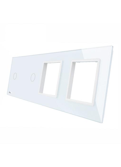 Livolo Glaspaneel | 2 x Enkelpolig + 2 x Module/Wandcontactdoos