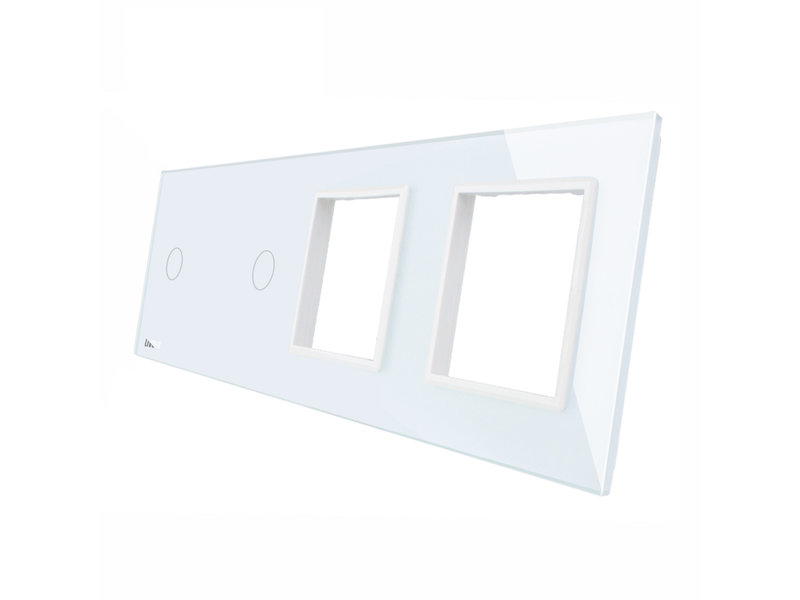 Livolo Design Glaspaneel | 2 x Enkelpolig + 2 x Module/Wandcontactdoos | 4 Raams