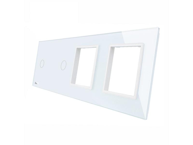 Livolo Design Glass Panel | 2 x 1-Gang + 2 x Module/Socket | 4 Hole