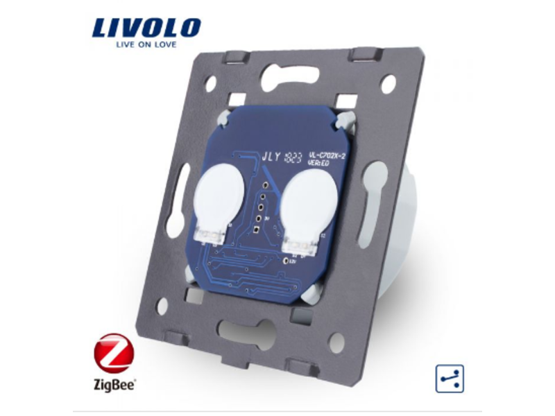 Livolo Design Touch Switch Module | 2 Gang 2 Way | 1 Hole | Zigbee | Smart Home