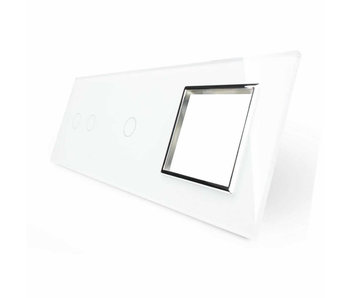 Livolo Glasplatte | 2-Polig + 1-Polig + Modul/Steckdose