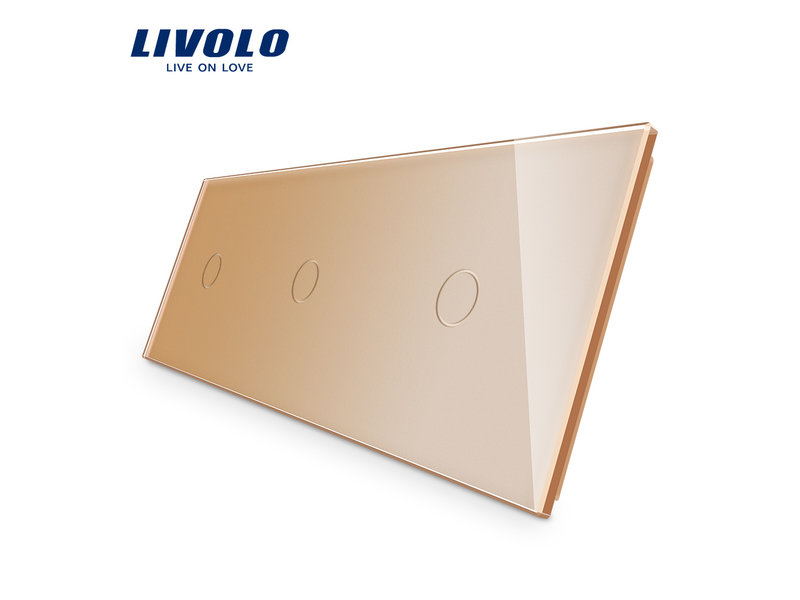 Livolo Design Glass Panel | 3 x 1-Gang | 3 Hole