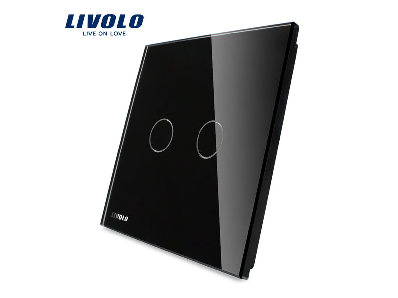 Livolo Design Glasplatte mit Livolo Logo | 2-Polig | 1 Fach