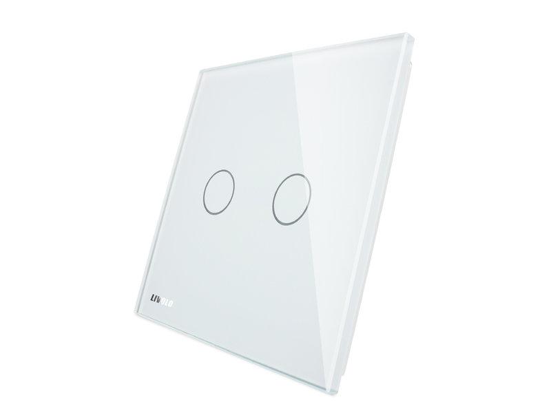 Livolo Design Glass Panel with Livolo Logo | 2-Gang | 1 Hole
