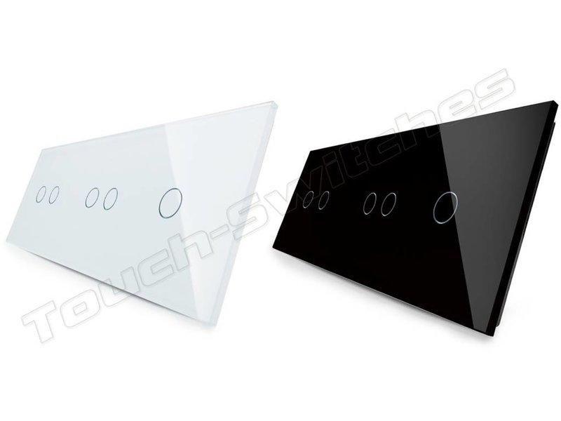 Livolo Design Glass Panel | 2 x 2-Gang + 1-Gang | 3 Hole