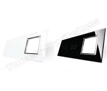 Livolo Glasplatte | 2 x 2-Polig + Modul/Steckdose