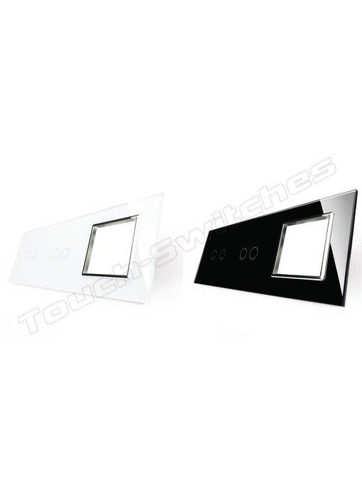 Glaspaneel | 2 x Serie + Module/Wandcontactdoos