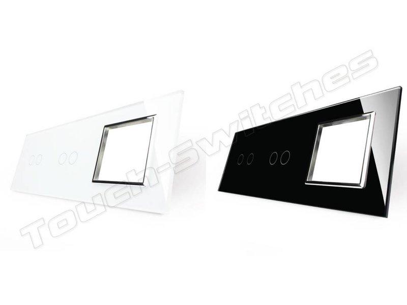 Design Glaspaneel | 2 x Serie + Module/Wandcontactdoos | 3 Raams