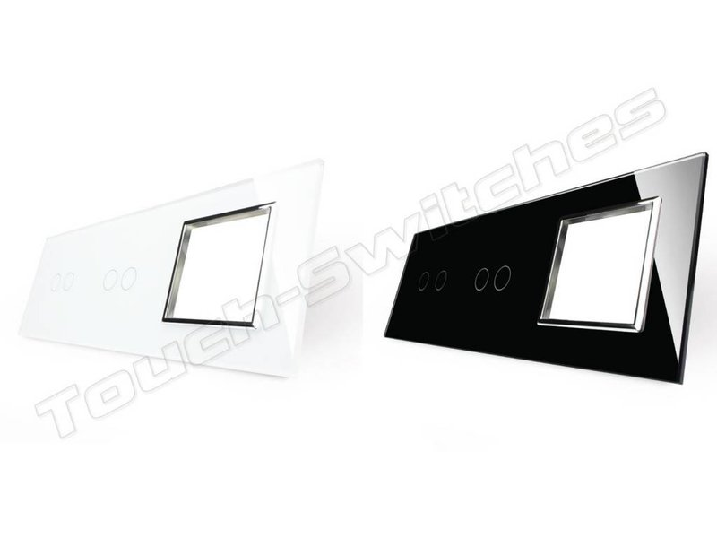 Design Glasplatte | 2 x 2-Polig + Modul/Steckdose | 3 Fach