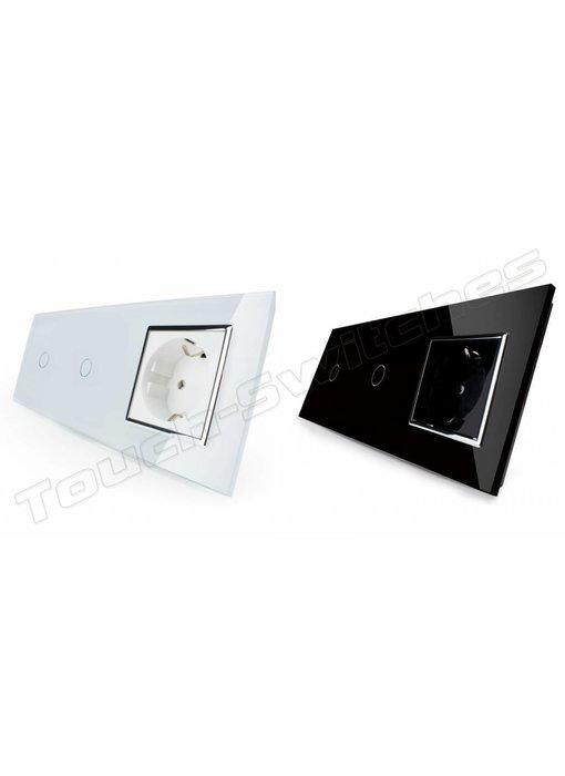 Livolo Touch Dimmer | 2 x Single-pole + EU wall socket