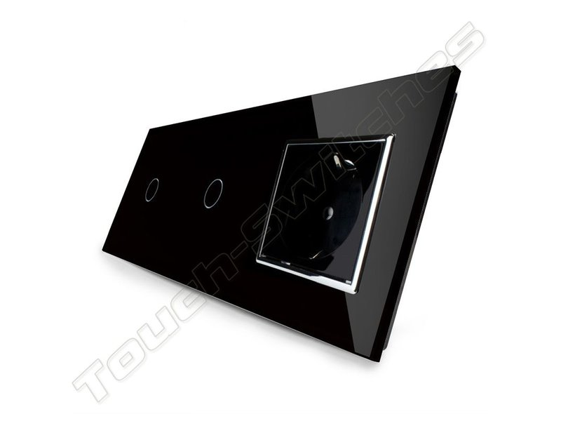 Design Touch Dimmer | 2 x Single pole + EU wall socket | 3 raams