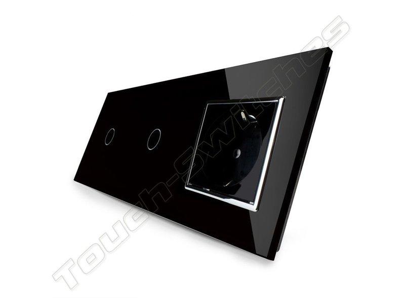 Livolo Design Tastdimmer | 2 x Single-polig + EU Sockel | 3 Raams