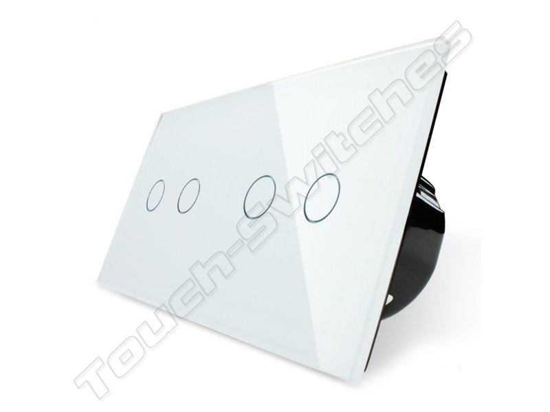 Design Touch-Schalter   2-polig + 2-polig   2 Fach
