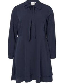 JUNAROSE Donkerblauw kleed met strik vooraan