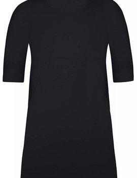 ZHENZI Kleed met 3-4 mouw in zwart en koraal