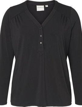 JUNAROSE Zwarte blouse met V-hals